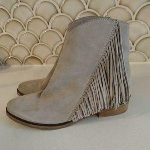 Aldo Brown Suede Fringe Ankle Boots Size 8.5 J
